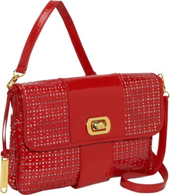 Adrienne Vittadini Handbags Bianca Patent Perforated Turnlock Clutch