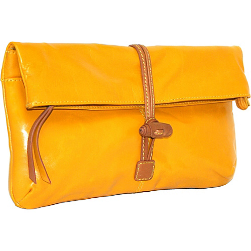 Nino Bossi Clutch with Knotted Closure - Lemon