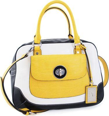 Koret Handbags Tri-tone Bowling Satchel with Detachable Strap