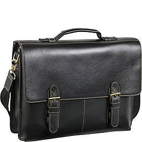 Classical Leather Organizer Briefcase  Black