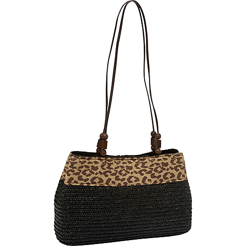 Magid Milan Straw Leopard Trim 4-poster Tote Black - Magid Straw Handbags