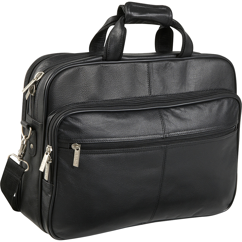 AmeriLeather Genuine Laptop Softside Briefcase - Black - Work Bags & Briefcases, Non-Wheeled Business Cases