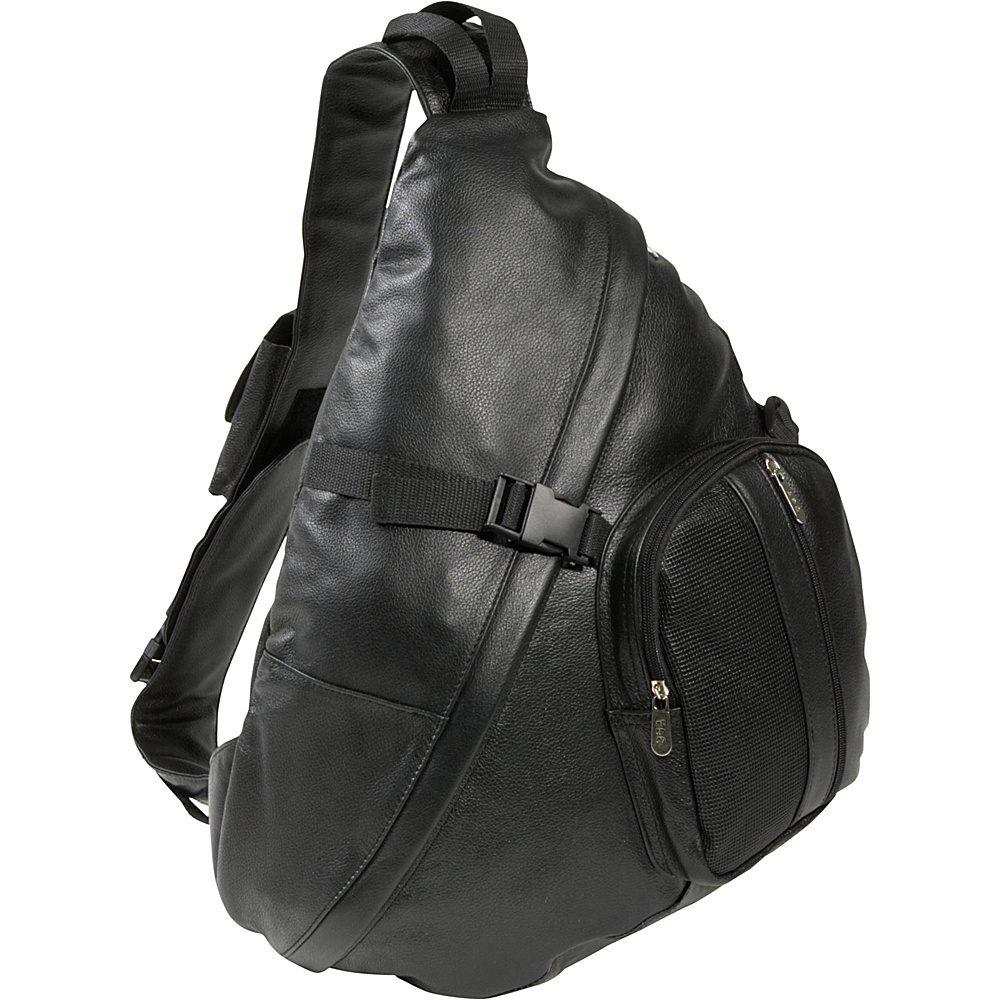 AmeriLeather APC Leather Cross Body Sling Bag - Black - Backpacks, Slings