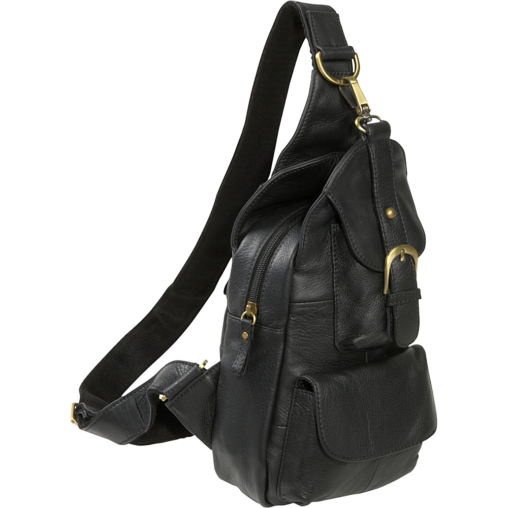 AmeriLeather Grylls Petite Sling Purse - Black - Handbags, Leather Handbags