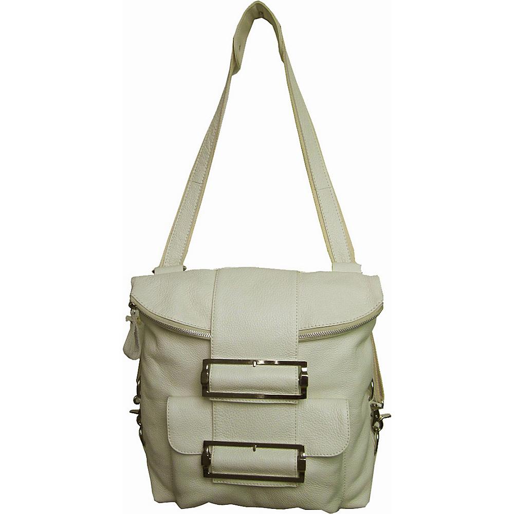 AmeriLeather Rococo Leather Handbag / Backpack Off White - AmeriLeather Leather Handbags - Handbags, Leather Handbags