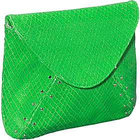 Riley Neon Snake Square Flap Clutch Green