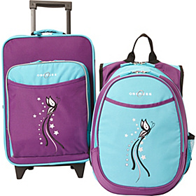 O3 Kids Butterfly Luggage and Backpack Set With Integrated Cooler Turquoise Butterfly