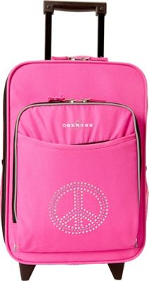 Obersee Kids Peace 16 inch Upright Pink Bling Rhinestone Peace - Obersee Softside Carry-On