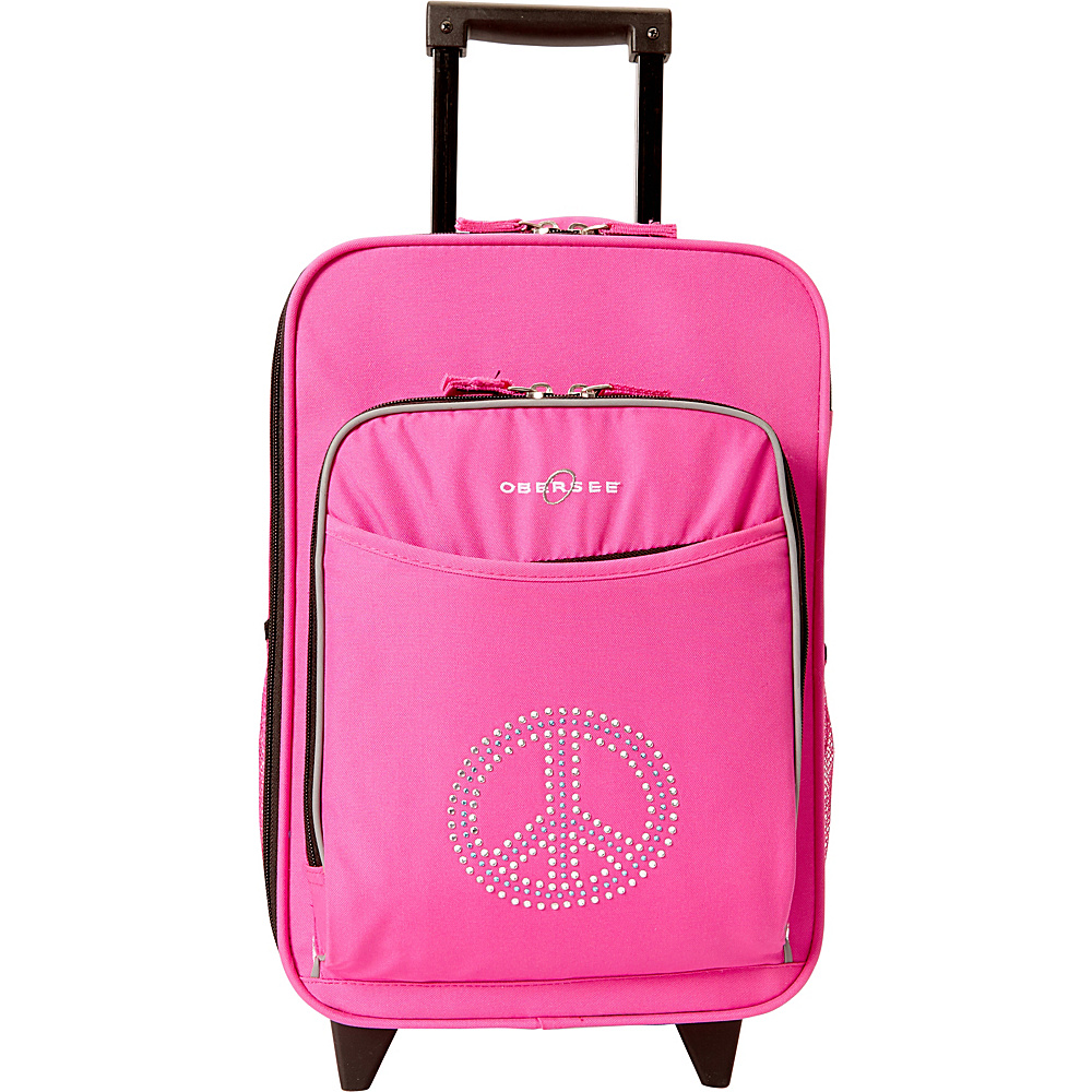 Obersee Kids Peace 16 Upright Pink Bling Rhinestone Peace Obersee Softside Carry On