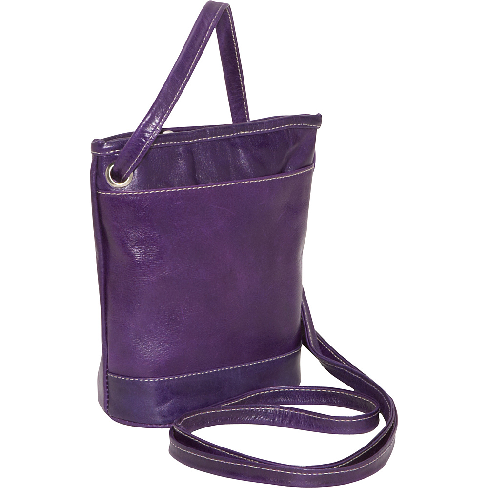David King & Co. Florentine Top Zip Mini Bag Purple - David King & Co. Leather Handbags - Handbags, Leather Handbags