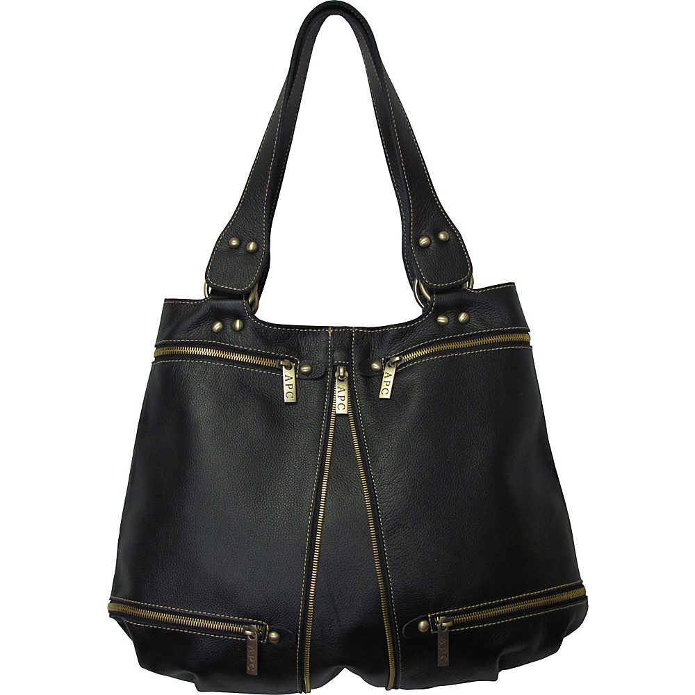 AmeriLeather Rila Top-Zip Leather Tote - Black - Handbags, Leather Handbags