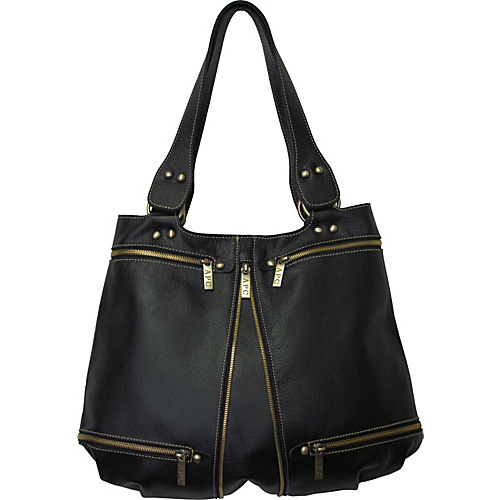 AmeriLeather Rila Top-Zip Leather Tote - Black