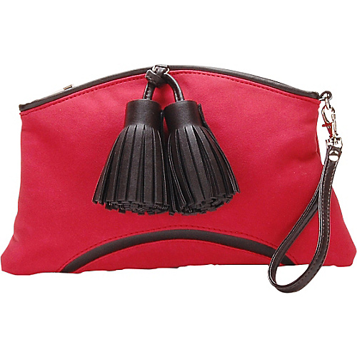 Flying Daisies Cherry Red Faux Suede Handbag Clutch Purse Cherry Red - Flying Daisies Manmade Handbags