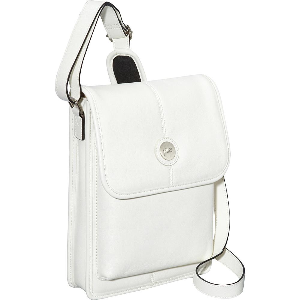 Jill e Designs E GO Leather Metro Tablet Bag White with Black Trim Jill e Designs Messenger Bags