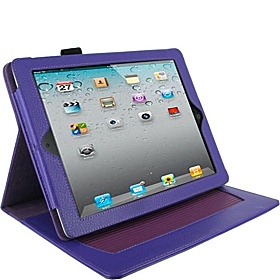 Dual-Axis Leather Folio for iPad Gens 2, 3 & 4 Purple