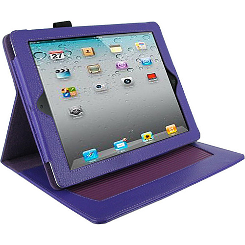 rooCASE Dual-Axis Leather Folio Case for Apple iPad 2 / The new iPad 3 Purple - rooCASE Laptop Sleeves