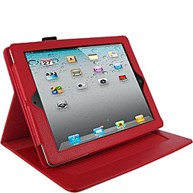 Dual-Axis Leather Folio for iPad Gens 2, 3 & 4 Red