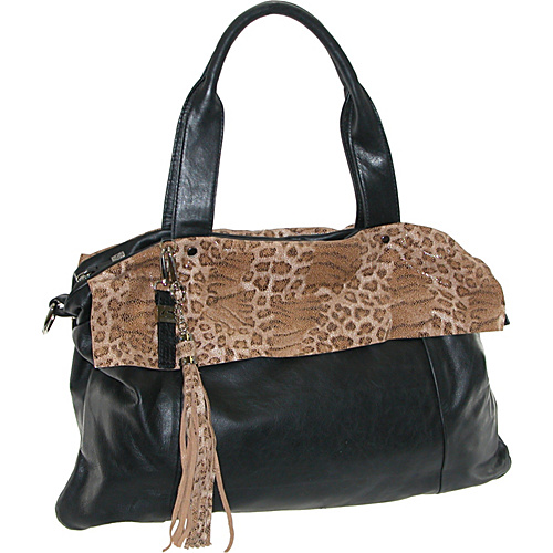 Buxton Leather Tote Featuring Animal Print Accents Black - Buxton Leather Handbags