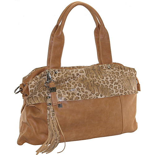 Buxton Leather Tote Featuring Animal Print Accents Camel - Buxton Leather Handbags