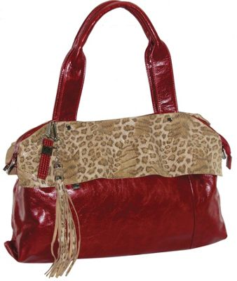 B. Collective Leather Tote Featuring Animal Print Accents