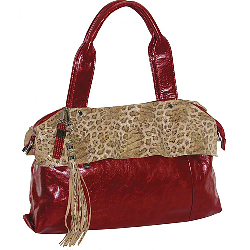 Buxton Leather Tote Featuring Animal Print Accents Red - Buxton Leather Handbags