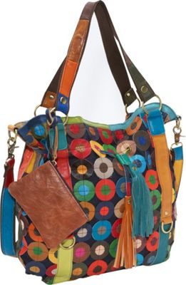 AmeriLeather Multi-Colored Lloyd Leather Tote Rainbow - AmeriLeather Leather Handbags