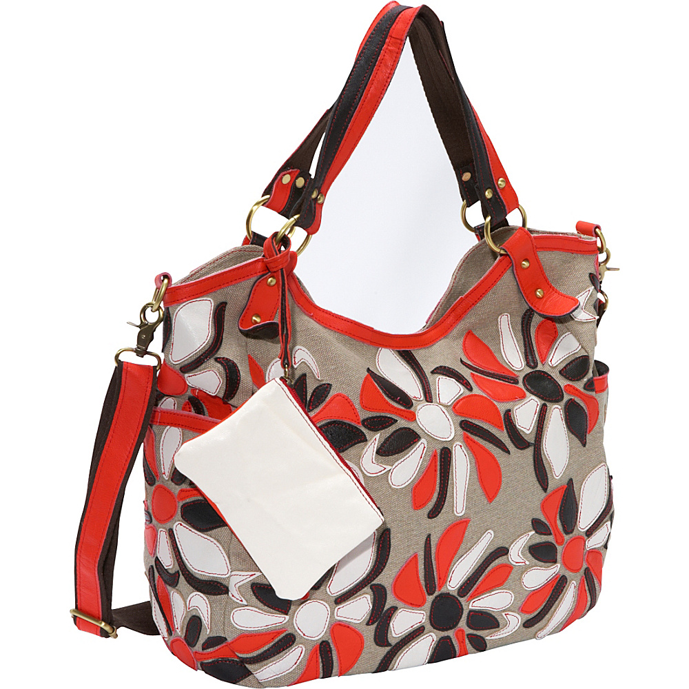 AmeriLeather Flora Canvas/Leather Tote White/Red/Black - AmeriLeather Fabric Handbags