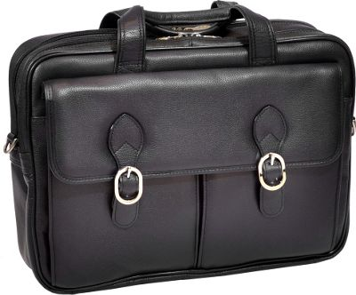 McKlein USA Hyde Park Double Compartment 15 inch Laptop Case Black - McKlein USA Electronic Cases