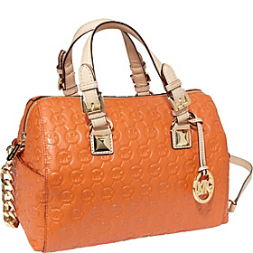 Grayson Chain Md Satchel-Monogram Embossed Tangerine