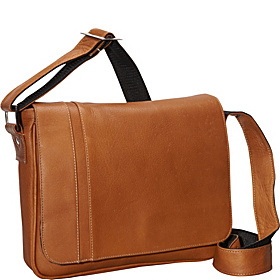 Deluxe Medium iPad Messenger with Inlay Tan
