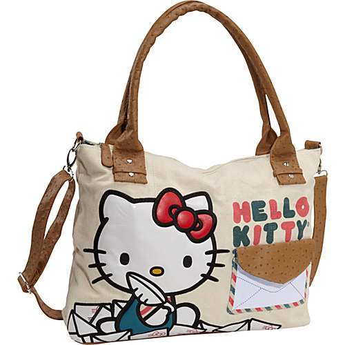 Loungefly Hello Kitty Mail Messenger Bag Tan with Colored Details - Loungefly Fabric Handbags