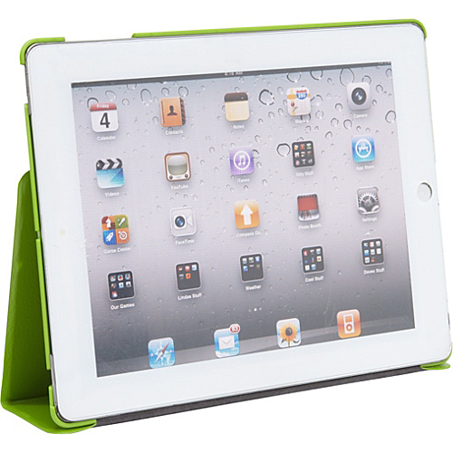 Wireless Accessories Unlimited Folio with Stand for iPad 2 & New iPad - Smiley Face GREEN - Wireless Accessories Unlimited Laptop Sleeves