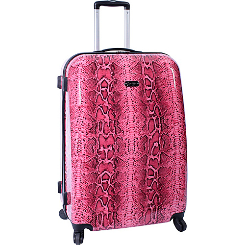 "Jessica Simpson Luggage Snake 28"" Twister Hardside Coral - Jessica Simpson Luggage Large Rolling Luggage"