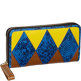 Harlequin Leather $ Pieces Zip Wallet Blue Multi (Yellow/Blue/Amaretti)