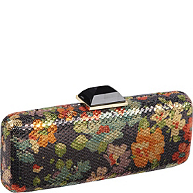 Floral Squins Slim Rectangle Clutch Gold-Black Multi
