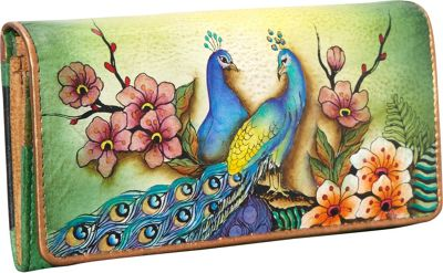 Image of Anuschka Accordion Flap Wallet Passionate Peacocks - Anuschka Ladies Clutch Wallets