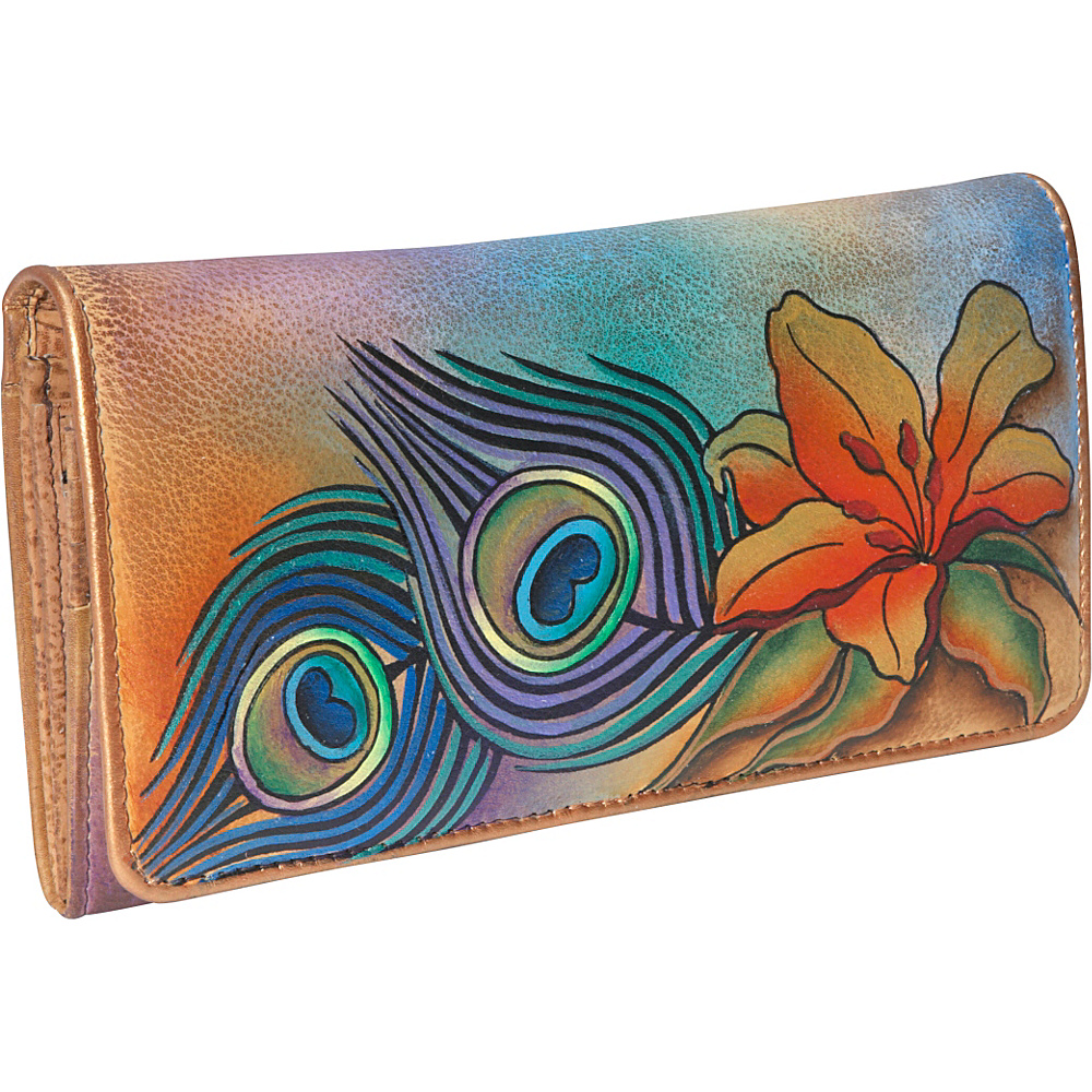 Anuschka Accordion Flap Wallet Peacock Lily Peacock