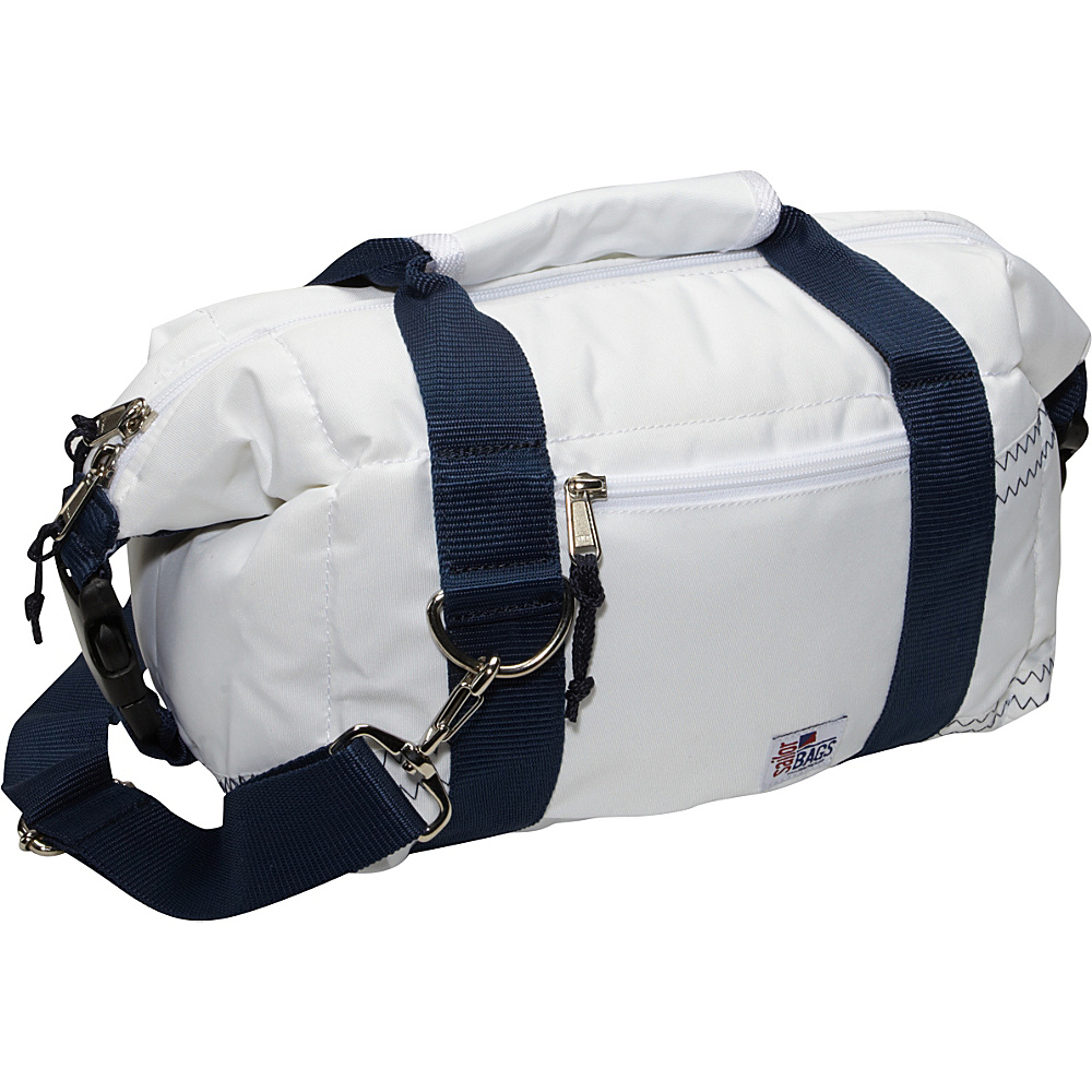 SailorBags Sailcloth 8 Pack Soft Cooler Bag White with Blue Straps SailorBags Travel Coolers