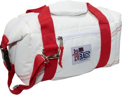 SailorBags Sailcloth 8-Pack Soft Cooler Bag White with Red Straps - SailorBags Travel Coolers