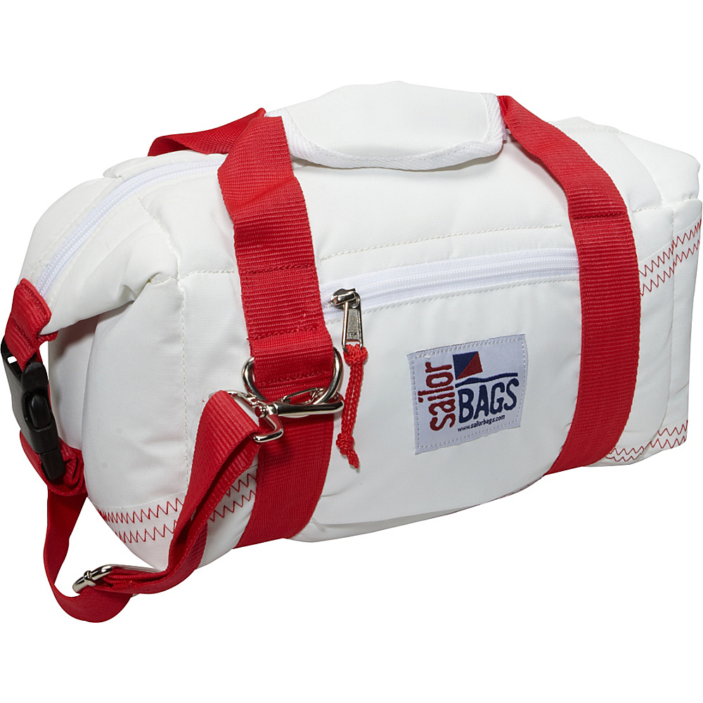 SailorBags Sailcloth 8 Pack Soft Cooler Bag White with Red Straps SailorBags Travel Coolers