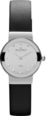 Skagen Black Leather & Steel Watch Black/Silver - Skagen Watches