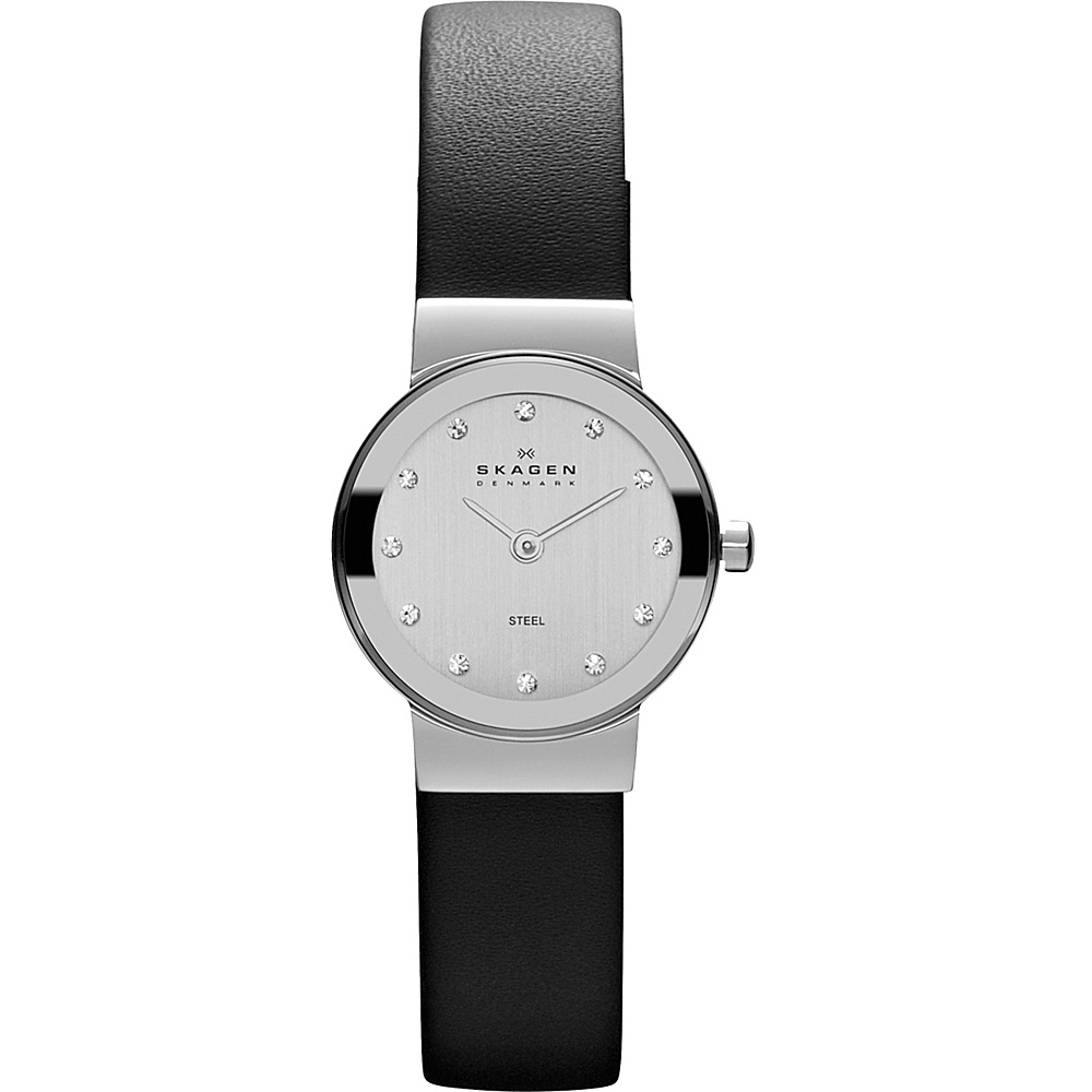 Skagen Black Leather Steel Watch Black Silver Skagen Watches