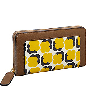 Floating Flower Print Big Zip Wallet Sun Yellow