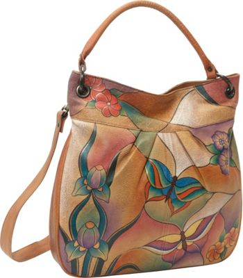 ANNA by Anuschka LARGE CONVERTIBLE TOTE Butterfly Glass Painting - ANNA by Anuschka Leather Handbags