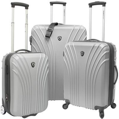 Traveler's Choice 3-Piece Hardside Ultra Lightweight Luggage Set Silver Grey - Traveler's Choice Luggage Sets