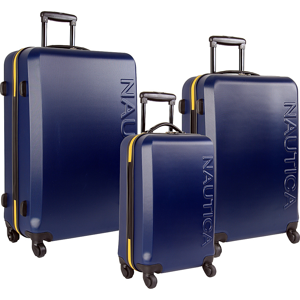 Nautica Ahoy 3 Piece Hardside Luggage Set Navy/Lighthouse Yellow - Nautica Luggage Sets