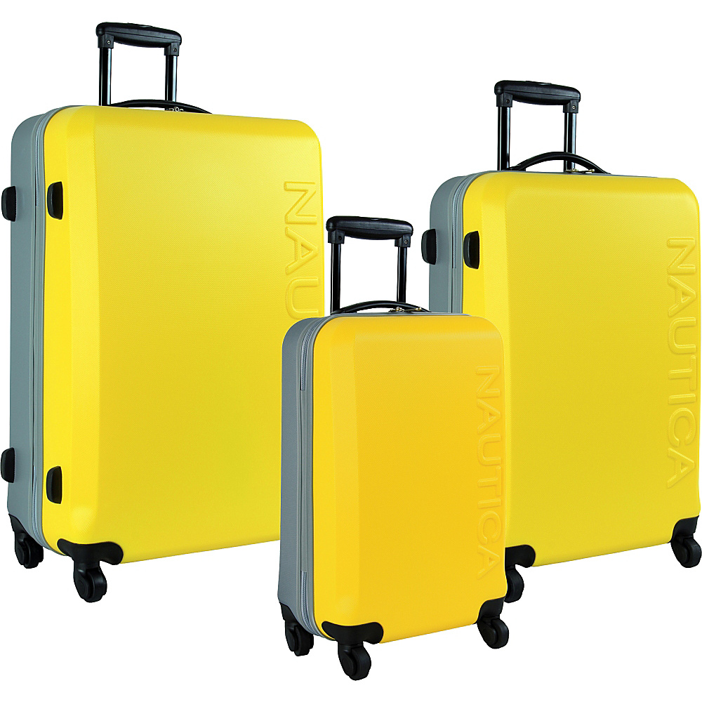 Nautica Ahoy 3-Piece Hardside Luggage Set Yellow/Silver - Nautica Luggage Sets