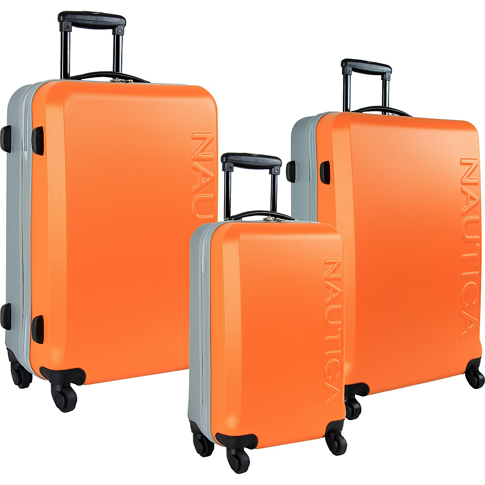 Nautica Ahoy 3 Piece Hardside Luggage Set Orange/Silver - Nautica Hardside Luggage