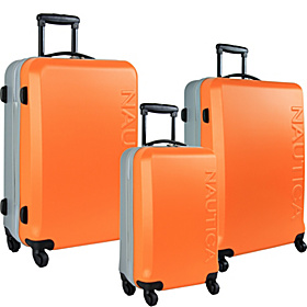 Ahoy 3 Piece Hardside Luggage Set Orange/Silver