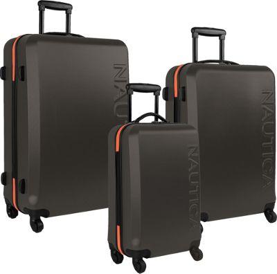 Nautica Ahoy 3-Piece Hardside Luggage Set Grey/Orange - Nautica Luggage Sets